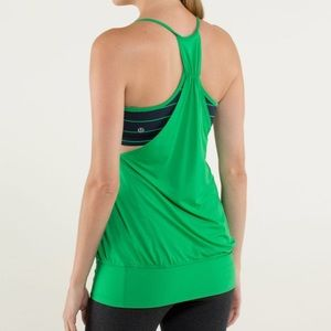 Lululemon No Limits Tank Top Green and Navy Blue